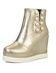 baratos -Mulheres Sapatos Gliter Outono Inverno Salto Plataforma Ponta Redonda 10,16 a 15,24 cm Botas Cano Médio Botas Curtas / Ankle para Casual