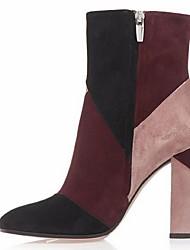 Women's Shoes Fleece Chunky Heel Bootie Boots Office & Career / Dress / Casual Red