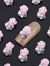 cheap -New 20PCS Nail Art Jewelry Pinkie Rose Nail Decorations Alloy Blue Rhinestone Aryclic Nails Nail Tips Decorations
