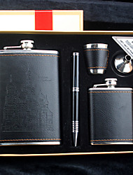 Gift Groomsman 5 Pieces Black Leather Stainless Steel 9-oz Flask +3oz Flask in Gift Box