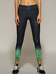 Women's Yoga Pants Running Legging Tights Slim Fitted Strechy With Aurora Color Breathable