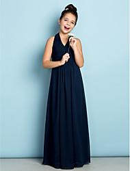 preiswerte -A-Linie Halter Boden-Länge Chiffon Junior-Brautjungferkleid mit Drapiert Überkreuzte Rüschen durch LAN TING BRIDE®