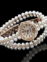 cheap -Women's Fashion Watch Bracelet Watch Unique Creative Watch Quartz Imitation Diamond Alloy Band Analog Sparkle Bohemian Pearls Gold - White