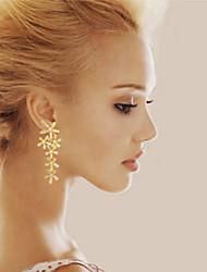 abordables -Femme Forme de Feuille Plaqué argent Plaqué or Boucles d'oreille goutte - Pierres de naissance Argent Doré Des boucles d'oreilles Pour