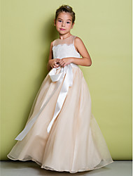 cheap -A-Line Floor Length Flower Girl Dress - Lace Organza Sleeveless Jewel Neck with Lace by LAN TING BRIDE®