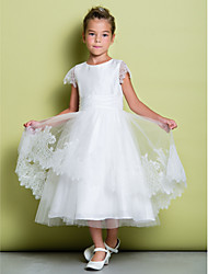 cheap -A-Line Tea Length Flower Girl Dress - Lace Short Sleeves Scoop Neck with Lace by LAN TING BRIDE®