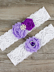 cheap -Chiffon Lace Satin Fashion Wedding Garter with Beading Lace Flower Garters