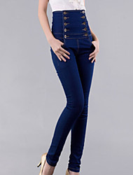 Women's High Rise Double Breasted Solid Denim Pant , Bodycon / Casual