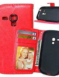 رخيصةأون -غطاء من أجل Samsung Galaxy حالة سامسونج غالاكسي محفظة / حامل البطاقات / مع حامل غطاء كامل للجسم لون سادة جلد PU إلى S5 Mini / S4 Mini / S4
