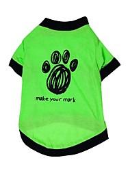 baratos -Gato Cachorro Camiseta Roupas para Cães Floral / Botânico Verde Algodão Ocasiões Especiais Para animais de estimação Verão Homens Mulheres