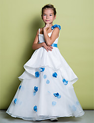 A-Line Floor Length Flower Girl Dress - Organza Sleeveless Spaghetti Straps with Flower by LAN TING BRIDE®