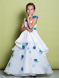 Vestito da ragazza a fiore di lunghezza a pavimento - spalline senza spalline in organza con fiore di lan ting bride®