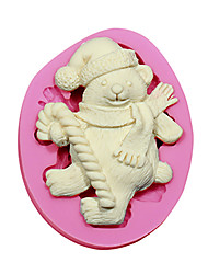 cheap -Fondant Cake Decorating Tools Christmas Bear Silicone Mold For Cupcake Candy Chocolate Soap Arts & Crafts