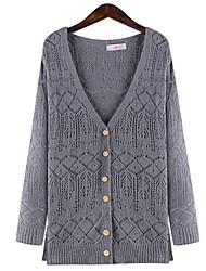 Longue Cardigan Femme Grandes Tailles Vintage,Couleur Pleine Géométrique Bleu Gris Col Arrondi Coeur Manches Longues Coton Lin Autres