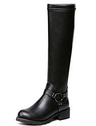 baratos -Mulheres Sapatos Courino Outono / Inverno Salto Robusto 45.72-50.8 cm / Botas Cano Alto Preto