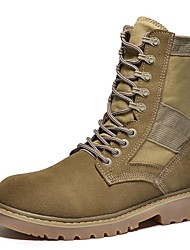 cheap -Men's Shoes Cowhide / Canvas Fall Combat Boots / Bootie / Motorcycle Boots Boots Black / Light Brown