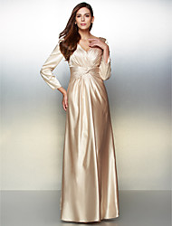 cheap -A-Line V Neck Floor Length Charmeuse Formal Evening Dress with Criss Cross by TS Couture®