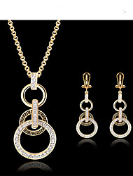 cheap -Women's Cubic Zirconia 18K Gold Jewelry Set Earrings Necklace - Vintage Cute Party Work European Gold Jewelry Set For