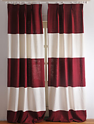 Two Panels White Burgundy Stripe Linen Cotton Panel Curtains Drapes