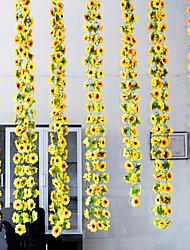 abordables -1 Une succursale Soie Plastique Rotin Tournesols Guirlande et Fleur Murale Fleurs artificielles