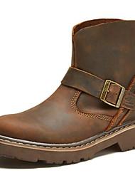 baratos -Unisexo sapatos Seda / Pele Napa Outono / Inverno Botas Cowboy / Country / Botas da Moda / Coturnos Botas Botas Curtas / Ankle Café