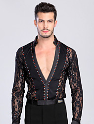 Latin Dance Tops Men's Training / Performance Chinlon / Lace Lace / Crystals / Rhinestones Long Sleeve Top