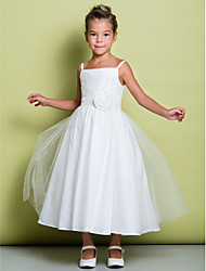 cheap -A-Line Tea Length Flower Girl Dress - Tulle Sleeveless Spaghetti Strap with Ruched / Flower by LAN TING BRIDE®