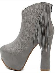 povoljno -Žene Cipele Umjetna koža Zima Jesen Kockasta potpetica Čizme gležnjače / do gležnja Elastika za Kauzalni Crn Sive boje