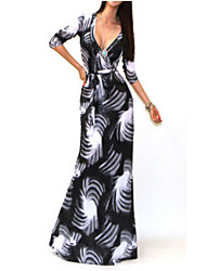 Women's Print Gray Sexy / Print / Maxi / Plus Sizes Deep V ¾ Sleeve Dress
