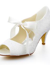 baratos -Mulheres Sapatos Cetim com Stretch Verão Salto Cone Cadarço de Borracha para Casamento Social Ivory