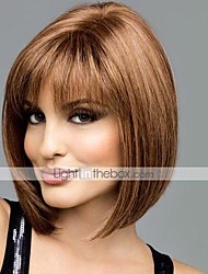 cheap -Human Hair Capless Wigs Human Hair Straight Bob Haircut With Bangs Middle Part Short Capless Wig Women's