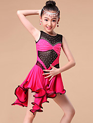 Latin Dance Dresses&Skirts Children's Performance / Training Milk Fiber Crystals/Rhinestones / Ruffles