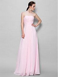cheap -A-Line Strapless Floor Length Chiffon Bridesmaid Dress with Criss Cross by LAN TING BRIDE®