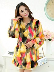 cheap -Daily Winter Spring Fall Fur Coat,Color Block Fashion Long Sleeves Faux Fur