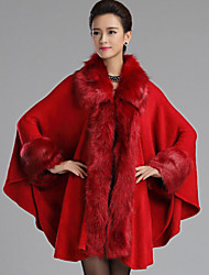 cheap -Women's Daily Vintage Fall Fur Coat,Solid Shawl Lapel Long Sleeve Regular Faux Fur Woolen Cloth