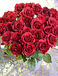 cheap -The Table Is Placed Polyester / Silica Gel Roses Artificial Flowers