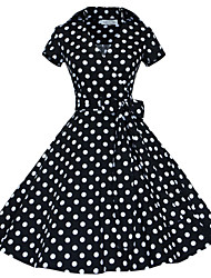 cheap -Women's Going out Vintage A Line Dress,Polka Dot Shirt Collar Knee-length Short Sleeves Cotton Polyester Spring Fall Mid Rise