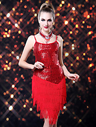 cheap -Latin Dance Dresses Women's Performance Polyester Spandex Sequined Sequin Tassel Dress