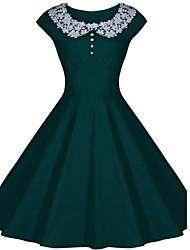 cheap -Women's Lace Round Collar Solid Color Plus Size Big Swing Hem Sleeveless Dress