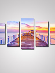 cheap -5 Panels Sunset Wooden Bridge  Picture Print on Canvas Unframed