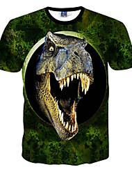 preiswerte -Herren T-shirt-Druck Freizeit Polyester Kurz-Grün