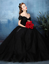 A-Line Off-the-shoulder Floor Length Tulle Formal Evening Black Tie Gala Dress with Sash / Ribbon Side Draping by Huaxirenjiao