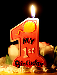 "Birthday Candle Big Number ""1"" One Full Year Of Life"