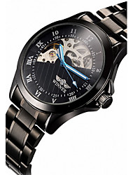 WINNER Masculino relógio mecânico Relógio de Pulso Automático - da corda automáticamente Gravação Oca Aço Inoxidável Banda Luxuoso Preta