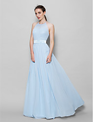 cheap -A-Line Halter Neck Floor Length Chiffon Bridesmaid Dress with Sash / Ribbon / Pleats by LAN TING BRIDE® / Open Back