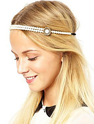 Women Fashion Pearl Flower Elastic Headband Hair Bands Hair Accessories