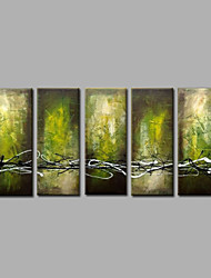 Ready to Hang Stretched Hand-Painted Oil Painting on Canvas Wall Art Contempory Abstract Modern Green Black Five Panels