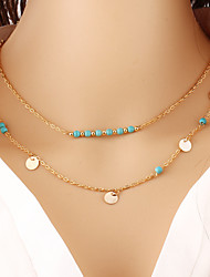 cheap -Women's Layered Necklace  -  Turquoise Vintage, Casual, Fashion Gold, Silver Necklace For Special Occasion, Birthday, Gift