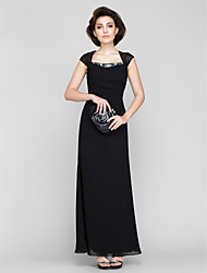 Sheath / Column Square Neck Ankle Length Chiffon Mother of the Bride Dress with Beading by LAN TING BRIDE®