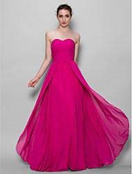 economico -Linea-A A cuore Lungo Chiffon Vestito da damigella con A incrocio di LAN TING BRIDE®